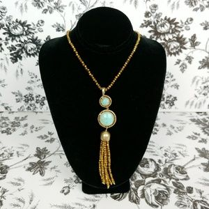 Lucky Brand semi precious stone tassel necklace